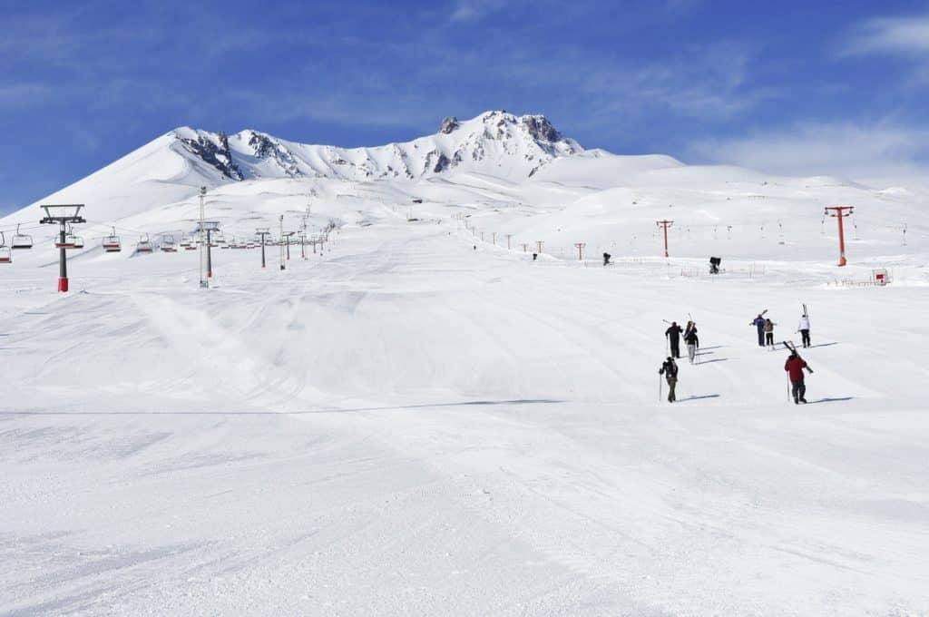 Skiers at the Erciyes Ski Center in Kayseri