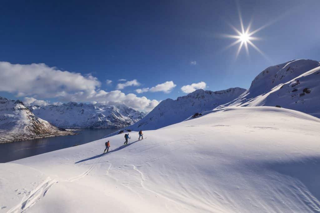 Ski enthusiasts climbing the Davraz Mountain