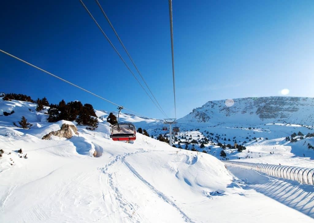The lift of the Ovacık Ski Center in Tunceli