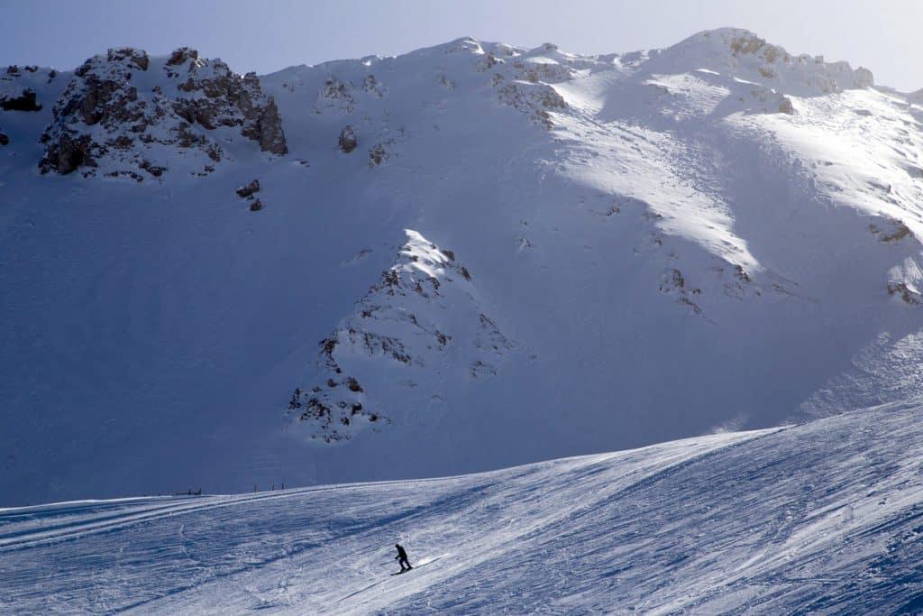 A man skiing at the Yıldız Mountain Ski Center in Sivas
