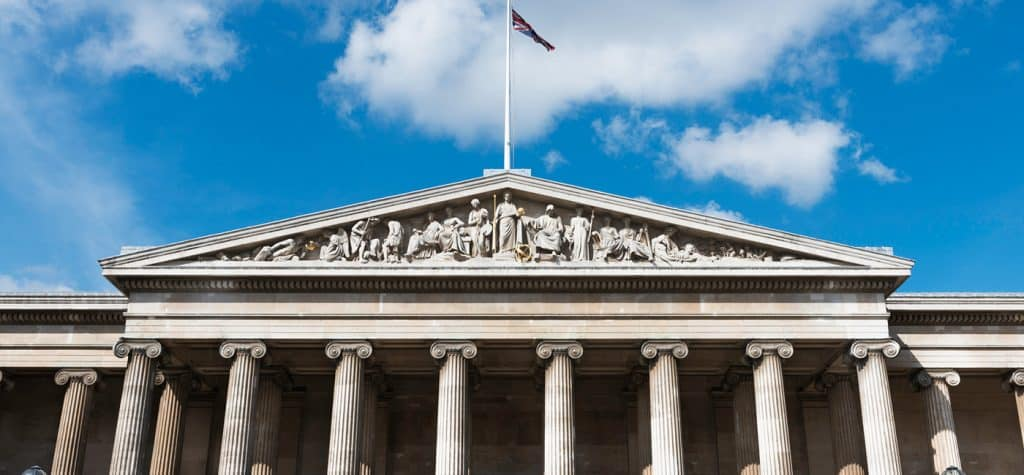 """The British Museum, established in 1759 with the slogan """"For all curious and hard-working people"""""""