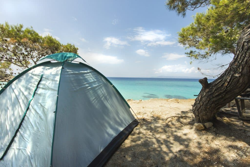 A tent pitched on the beach