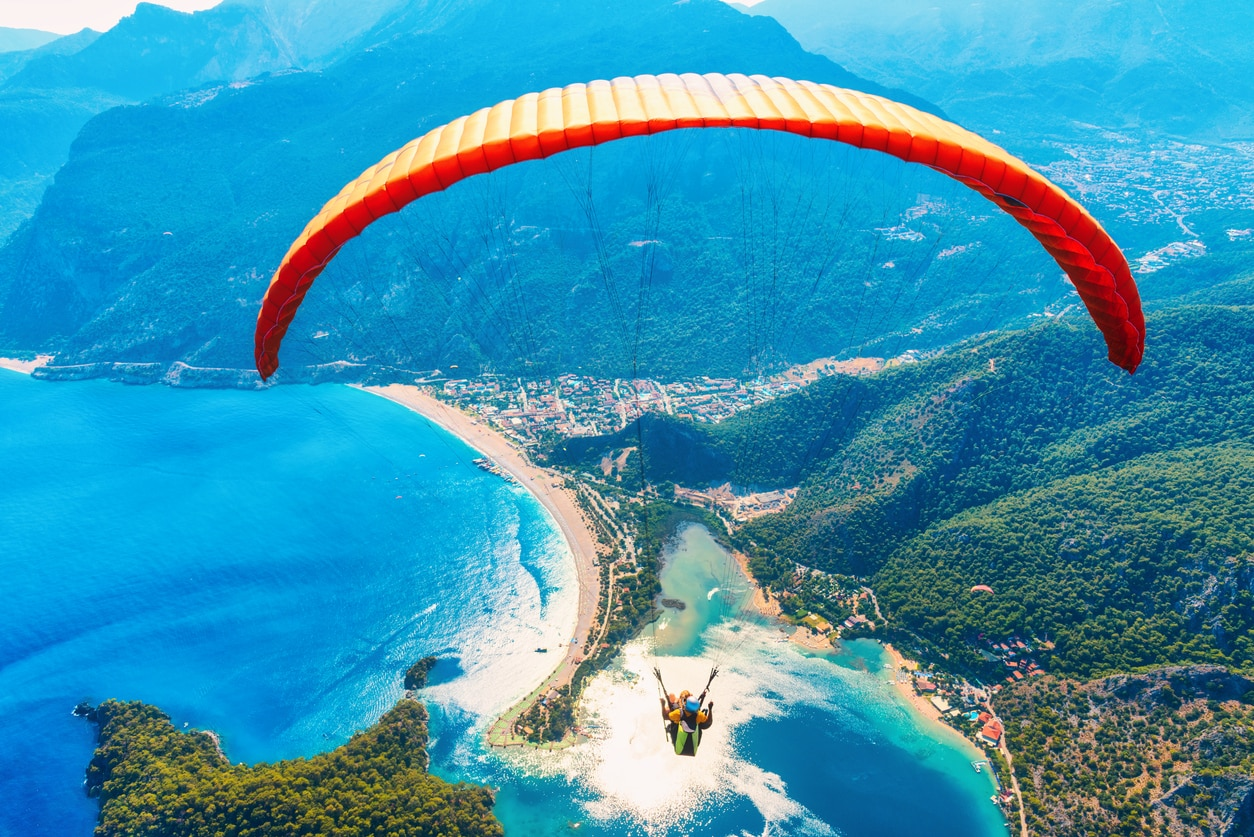 jumping man with a paraglider