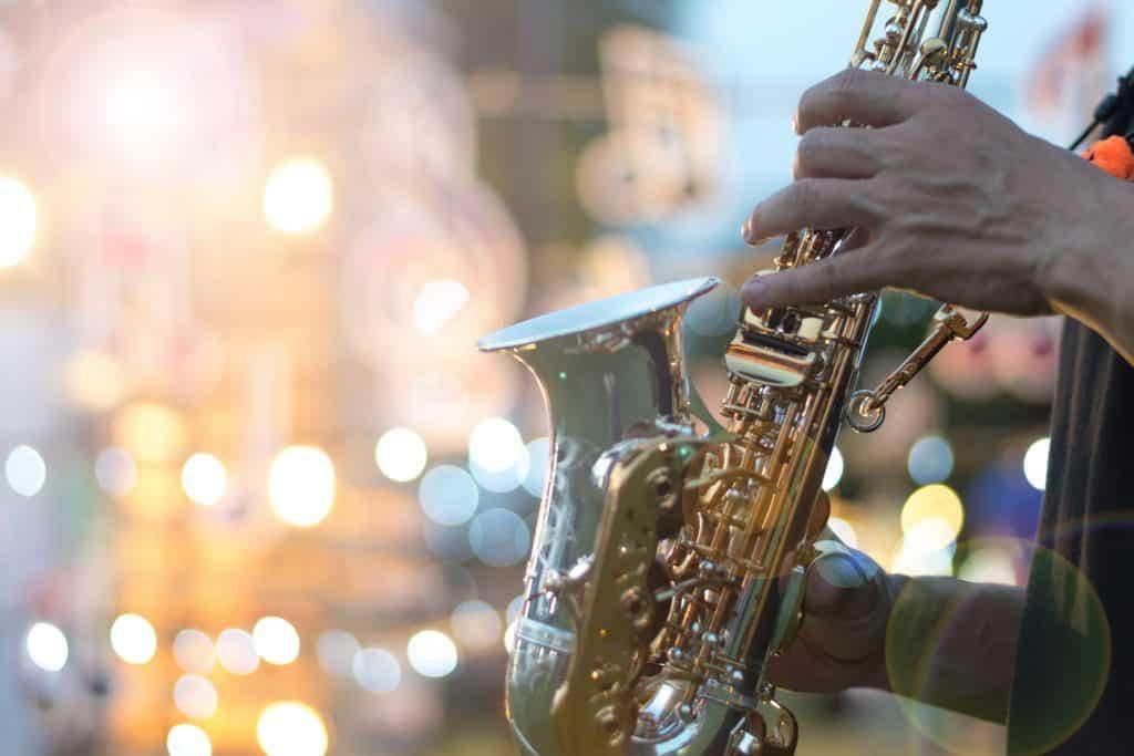 Saxophone player at a jazz bar