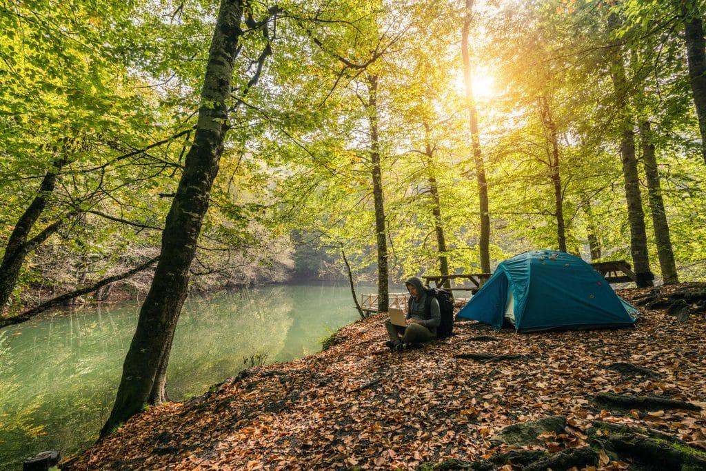 A man camping by the lake at Seven Lakes