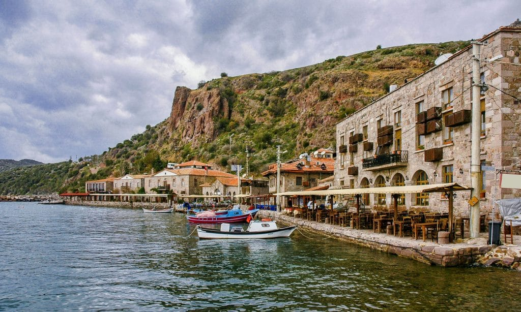 Assos, a view of Behramkale from the sea